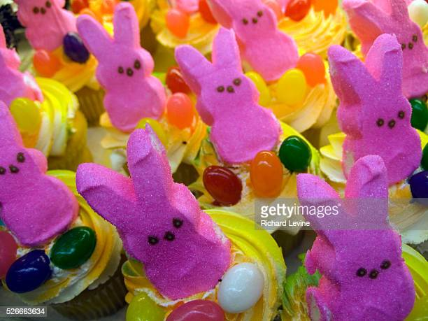 Cupcakes topped off with Just Born Quality Confections' Peeps in a supermarket in New York on April 3 2007 93 year old family owned Just Born Quality...