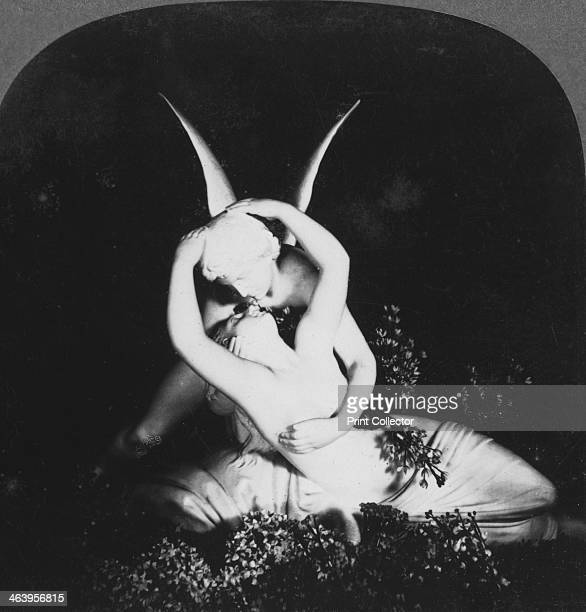 'Cupid and Psyche' late 19th century Stereoscopic card Detail