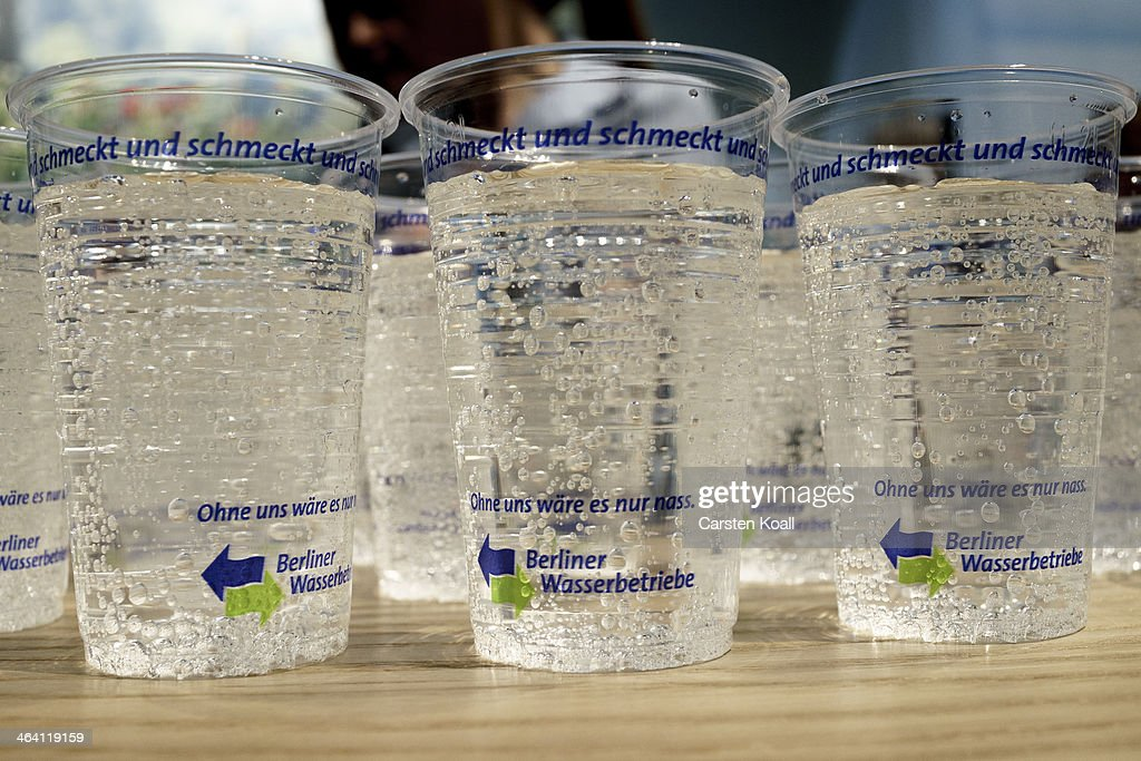 Cups filled with drinking water produced by the Berliner Wasserbetriebe stand on a table at a stand at the Gruene Woche agricultural trade fair on January 20, 2014 in Berlin, Germany. The Gruene Woche is the world's largest agricultural trade fair and is open to the public until January 26.