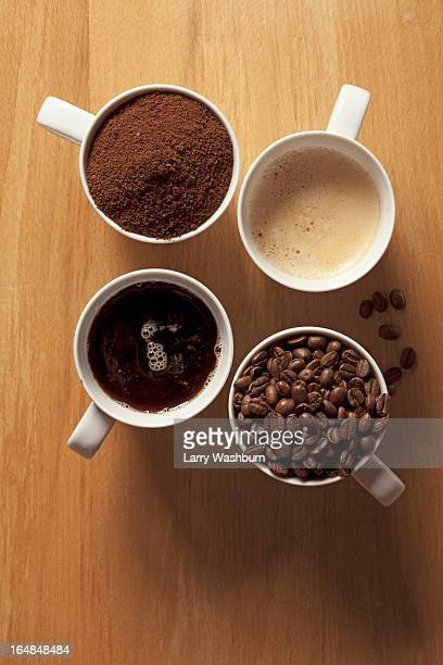 Cups of coffee and coffee beans
