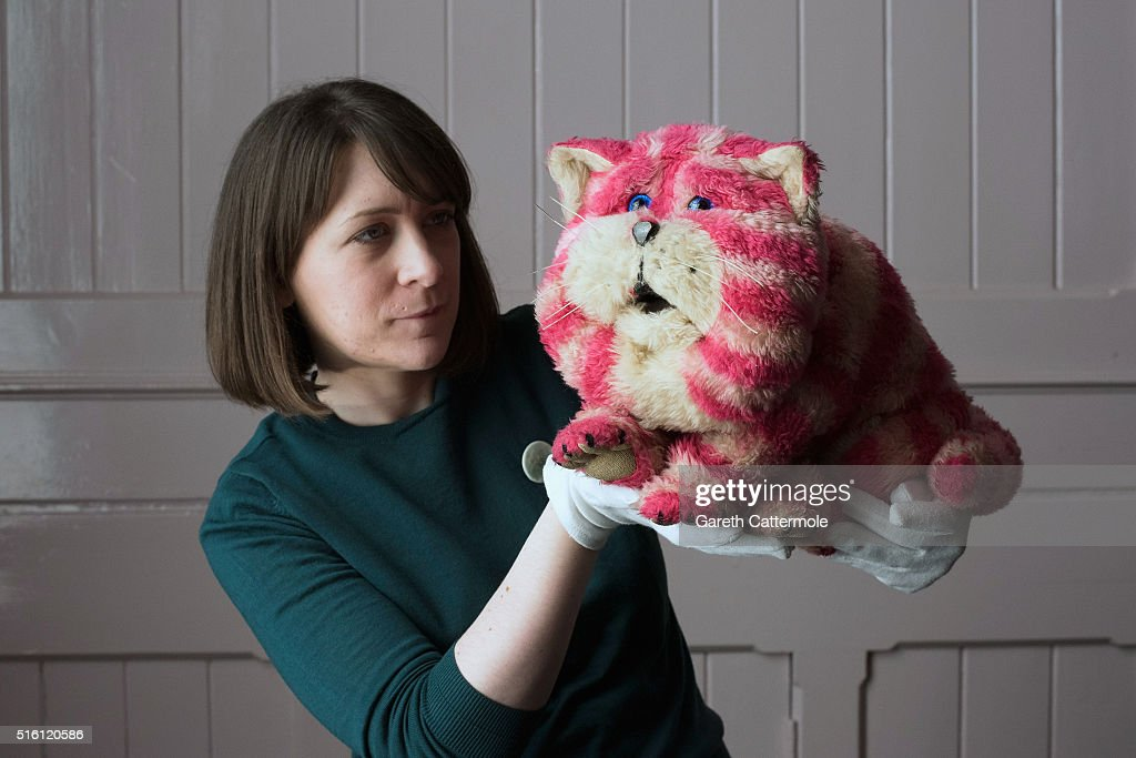 Curator Alice Sage holds up the original Bagpuss during a photocall for the Bagpuss And The Clangers Retrospective Of Smallfilms at the V&A Museum Of Childhood on March 17, 2016 in London, England.