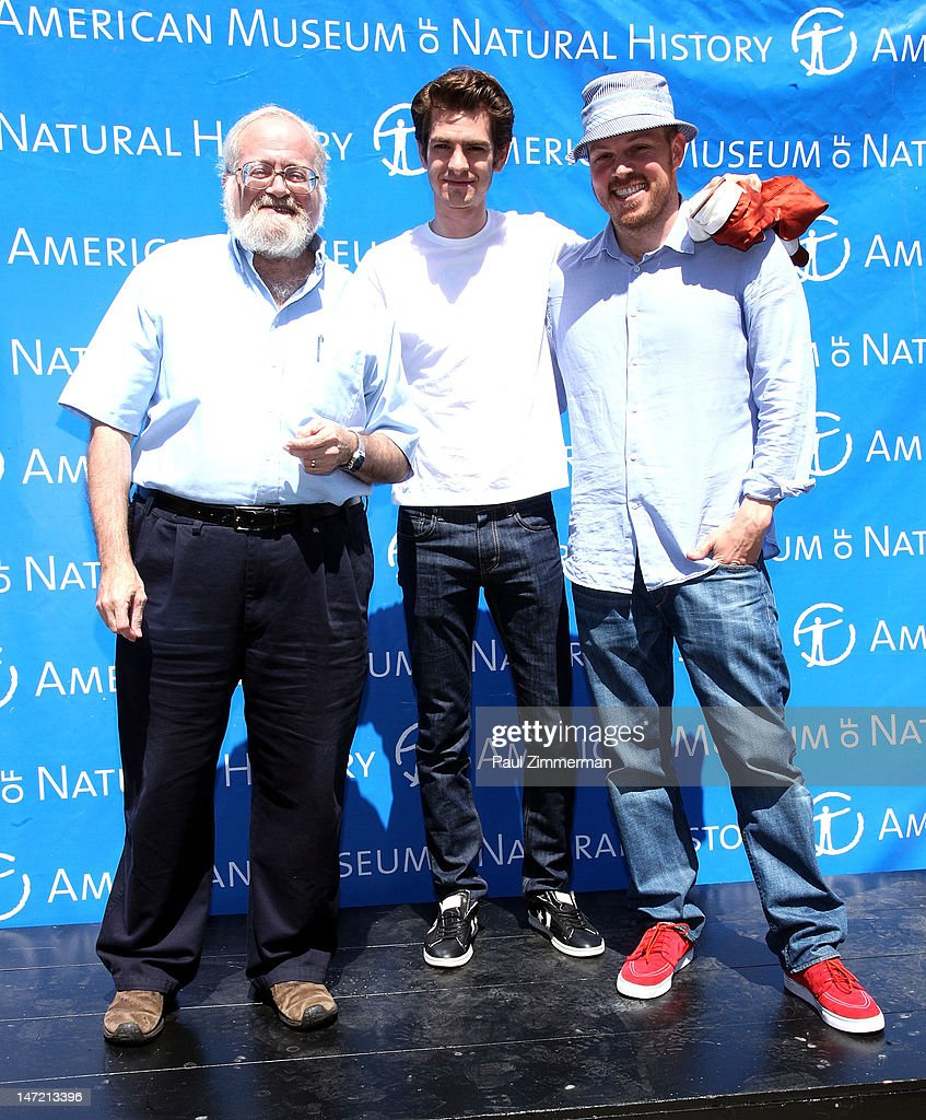 Curator, AMNH, Division of Invertebrate Zoology, Norman Platnick, actor <a gi-track='captionPersonalityLinkClicked' href=/galleries/search?phrase=Andrew+Garfield&family=editorial&specificpeople=4047840 ng-click='$event.stopPropagation()'>Andrew Garfield</a> and director <a gi-track='captionPersonalityLinkClicked' href=/galleries/search?phrase=Marc+Webb&family=editorial&specificpeople=637083 ng-click='$event.stopPropagation()'>Marc Webb</a> speak about a Chilean Rose Tarantula that was delivered to the American Museum of Natural History on June 27, 2012 in New York City.
