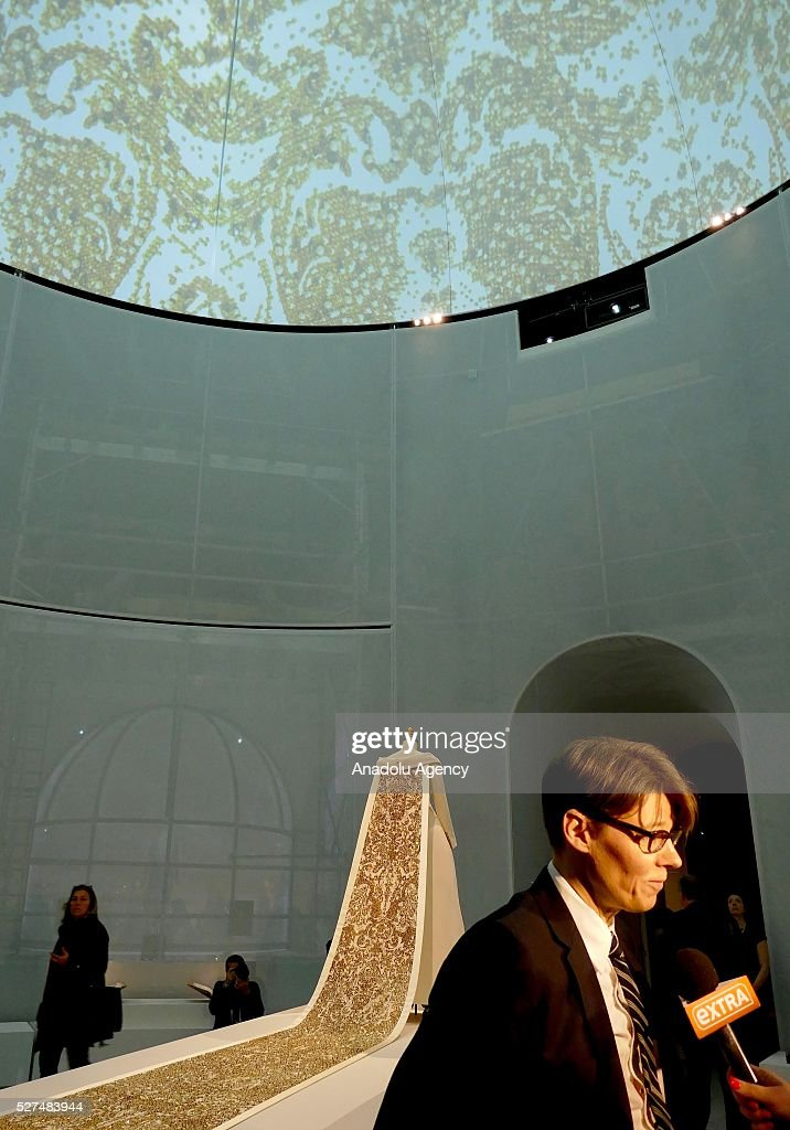 Curator Andrew Bolton speaks to press during the 'Manus x Machina: Fashion In An Age Of Technology' Costume Institute Gala at Metropolitan Museum of Art on May 2, 2016 in New York City, United States.