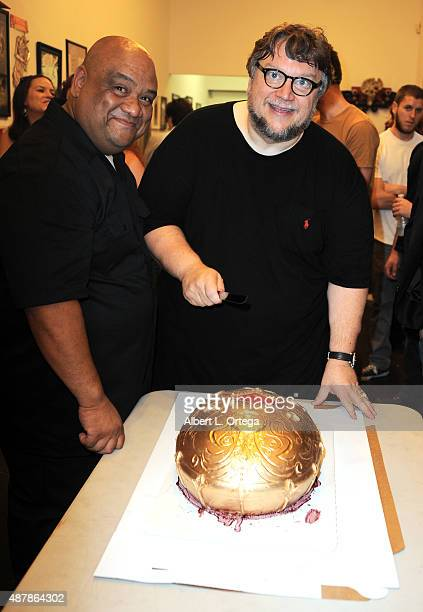 Curator Gary Deocampo and director Guillermo Del Toro at the Guillermo Del Toro In Service Of Monsters Tribute Art Show held at Gallery 1988 on...
