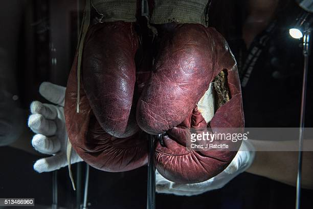 A curator handles the Ali 'split glove' from the 1963 fight v Henry Cooper when Ali's glove split in the forth round at the preview of the 'I Am The...