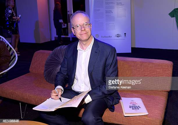 Curator HansUlrich Obrist attends the Art Los Angeles Contemporary 2015 Opening Night at Barker Hangar on January 29 2015 in Santa Monica California