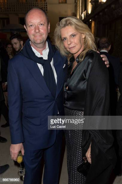 Curator of the Niarchos Collection Rupert Burgess and Sabine de Gunzburg attend the opening of Damien Hirst 'Treasures From The Wreck Of The...