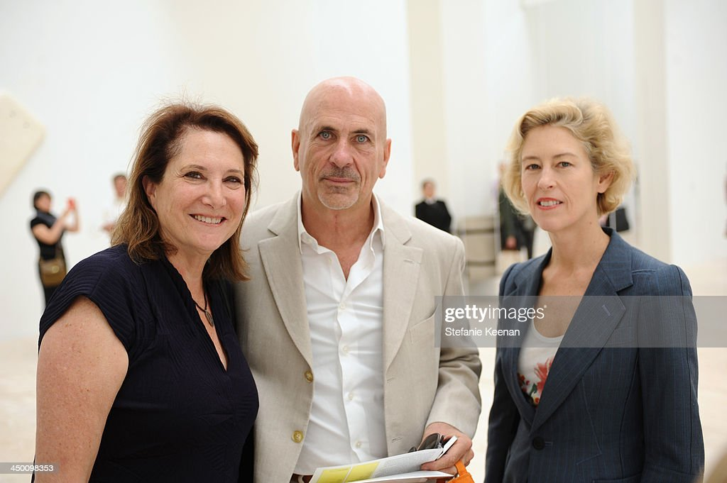 Curator/art writer Deborah Irmas, Scott Stover and art dealer Tracy Williams attend a private preview at Museo Jumex on November 16, 2013 in Mexico City, Mexico.