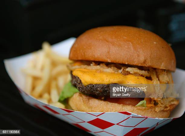 Curbside Cafe foodtruck cheeseburger is seen at CES 2017 at the Las Vegas Convention Center on January 7 2017 in Las Vegas Nevada CES the world's...