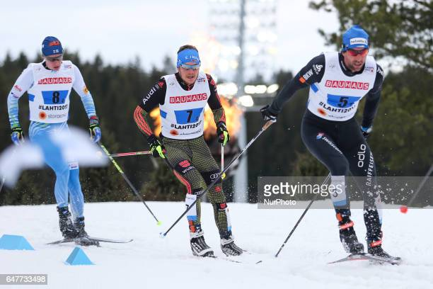 Curdin Perl Lucas Boegl Matti Heikkinen compete during the men's crosscountry 4x10 km relay event of the 2017 FIS Nordic World Ski Championships in...