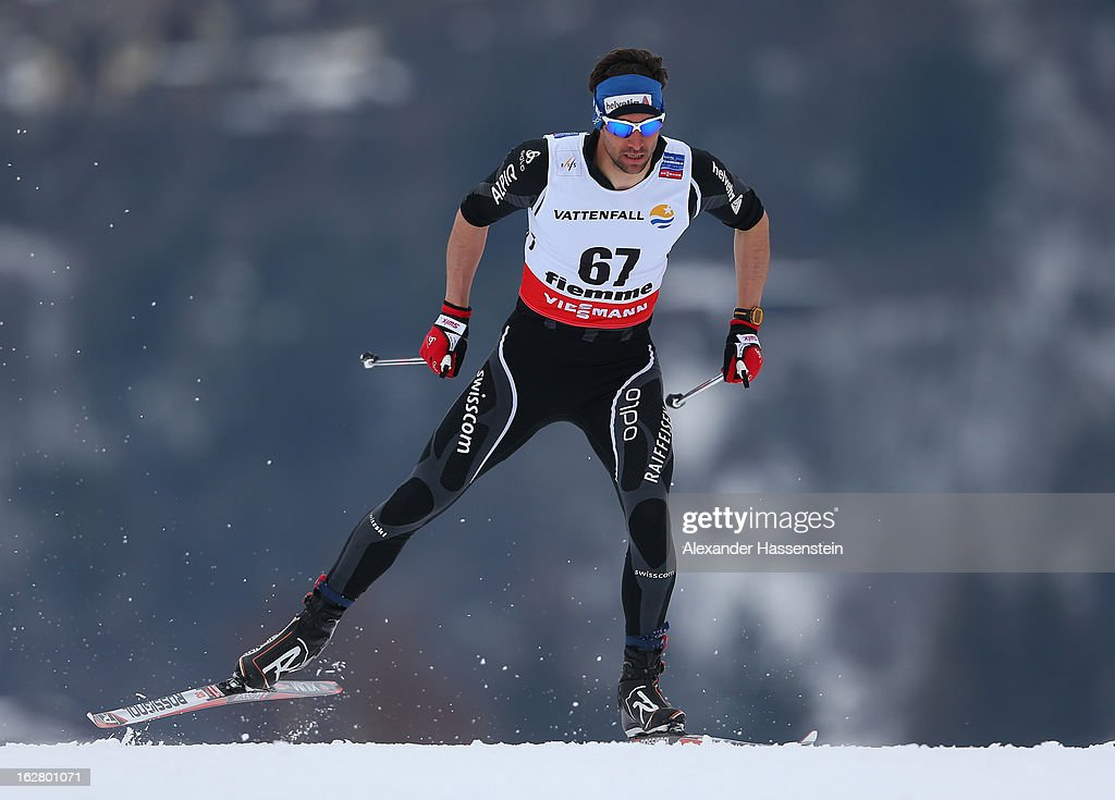 Curdin Perl of Switzerland in action during the Men's Cross Country Individual 15km at the FIS Nordic World Ski Championships on February 27, 2013 in Val di Fiemme, Italy.