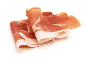 Cured Ham - Prosciutto isolated on white.My other similar images