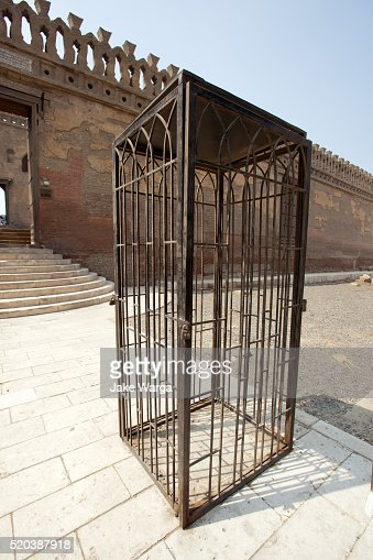 Curioius cage outside mosque, Cairo, Egypt