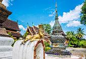 Curious guardian creature Wat Xieng Thong