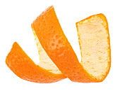 Curl mandarin peel isolated on a white background. Full depth of field
