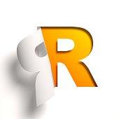 Curl paper font letter R