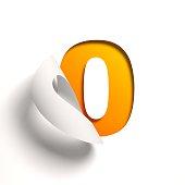 Curl paper font number 0