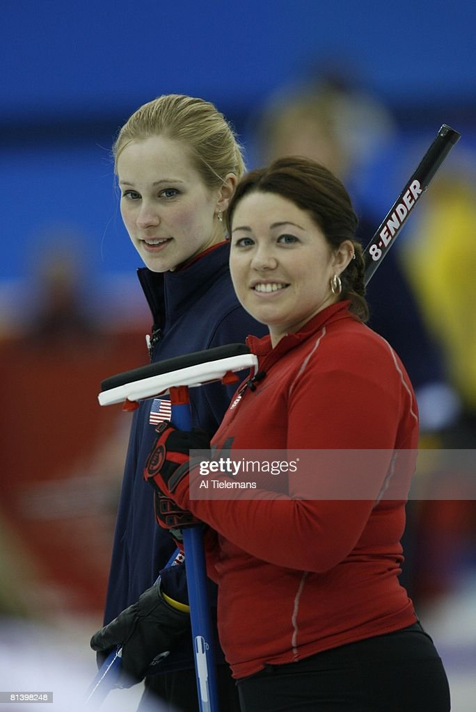 Curling 2006 Winter Olympics Closeup of USA Cassie Johnson and Maureen Brunt during Women's Round Robin Session 2 Sheet D at Palaghiaccio Pinerolo...