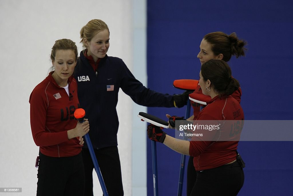 Curling 2006 Winter Olympics USA Jamie Johnson Cassie Johnson Jessica Schultz and Maureen Brunt during Women's Round Robin Session 2 Sheet D at...
