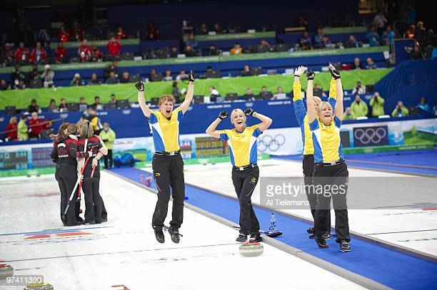 2010 Winter Olympics Sweden Anna Le Moine Cathrine Lindahl Eva Lund and skip Anette Norberg victorious vs Canada during Women's Gold Medal Game at...