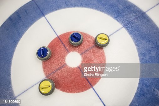 Curling house and stones