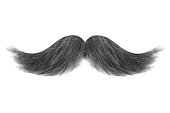 Curly black with grey moustache isolated on a white background