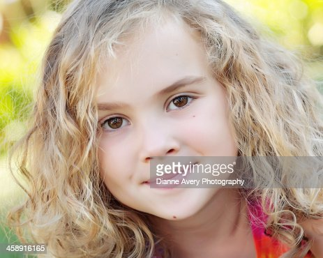 Curly haired girl close up