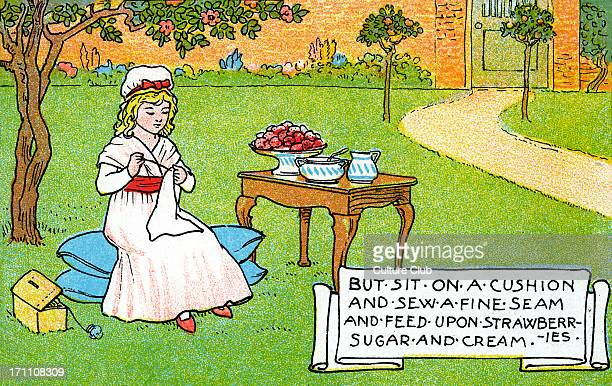 Curly Locks Nursery rhyme dating back to the Victorian era Illustration depicts second part of the rhyme Caption reads 'But sit on a cushion and sew...