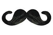 Curly black mustache isolated on a white background