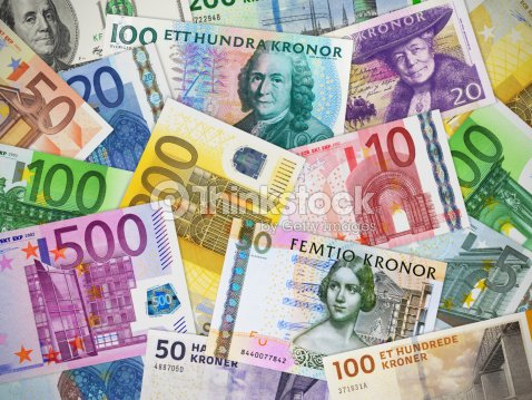 Currencies Collection Euro Us Dollar Swedish Krona And Danish Krone