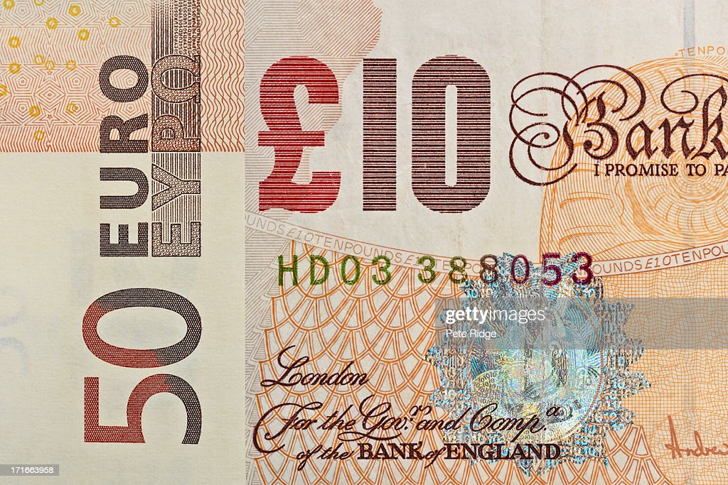 Currency, euro and sterling note