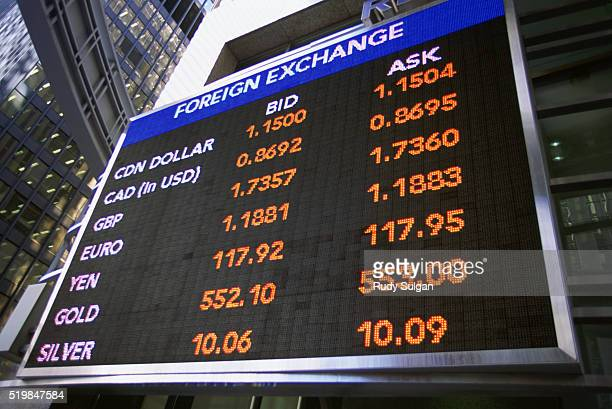 Currency Exchange Board in Toronto Financial District
