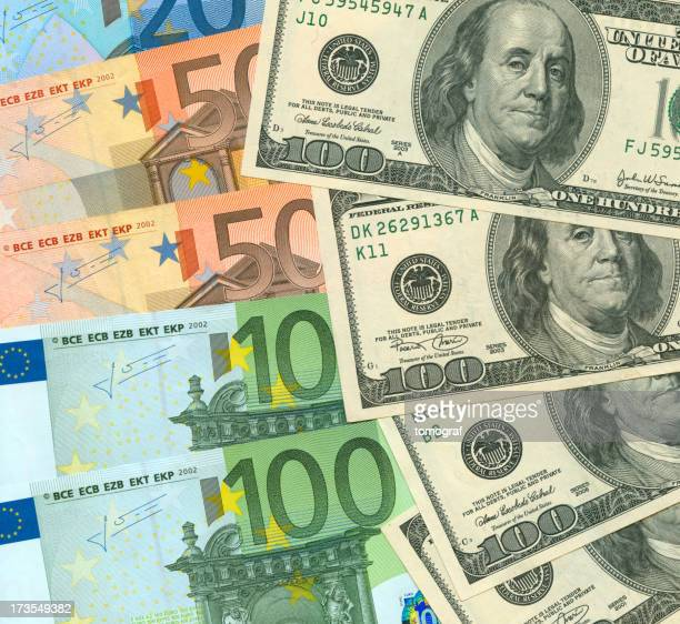 Currency exchange concept showing bills from both countries