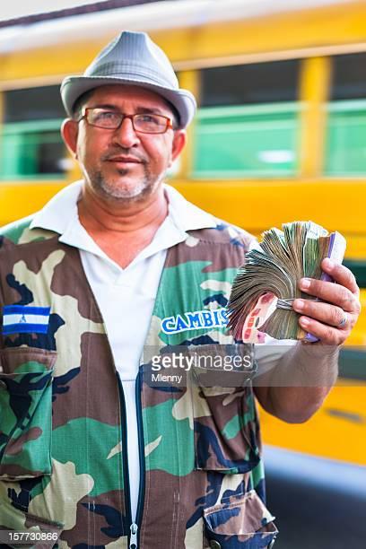 Currency Exchange Nicaragua Service Man Exchanging Money Portrait