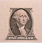 US currency, George Washington 'frowning' on one dollar bill