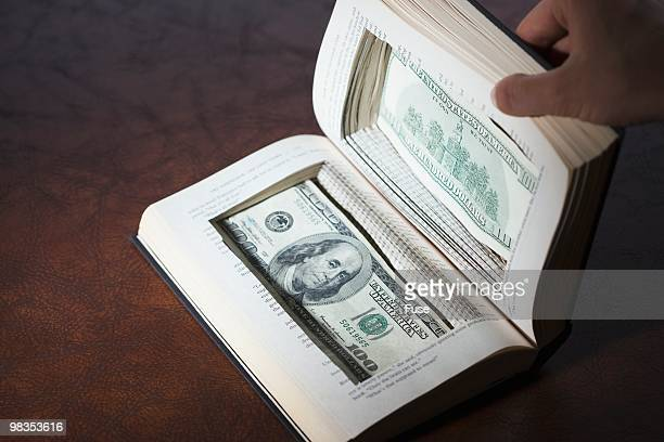US currency in book