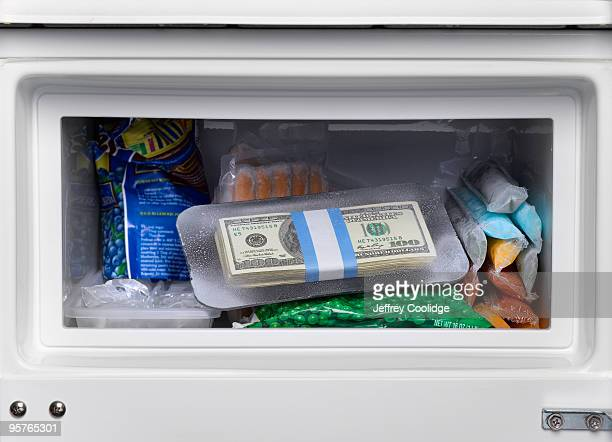 US Currency in Freezer