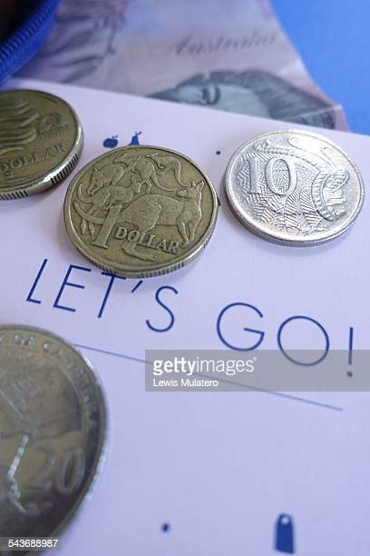 Currency Let's go Australian coins and a $5 bill
