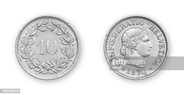 Currency metal coin macro photo with white background