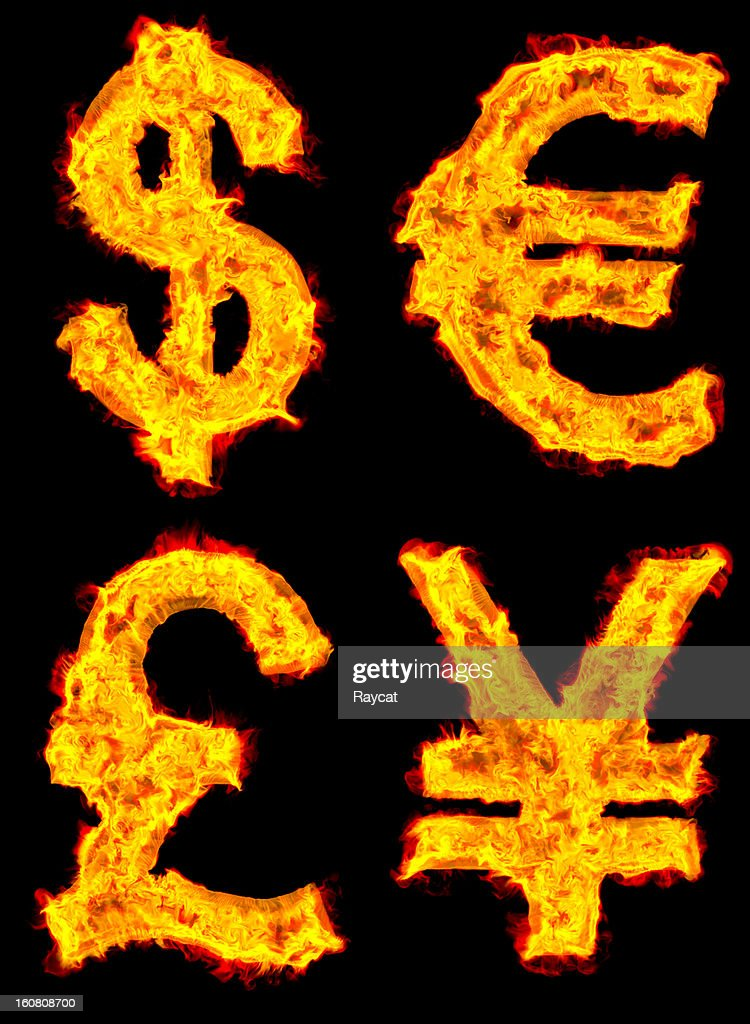 Currency on fire : Stock Photo