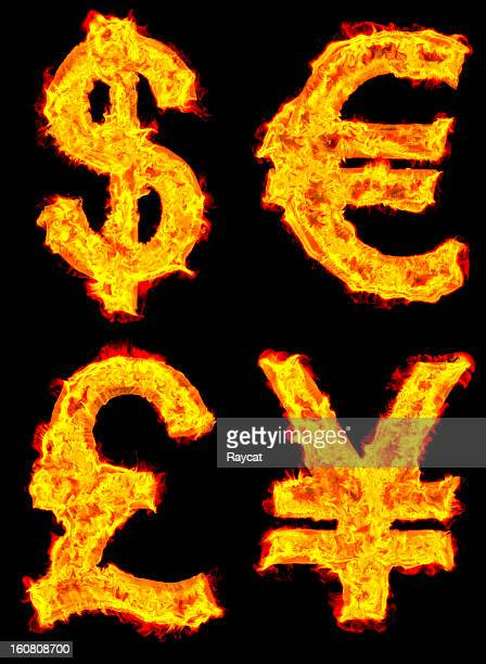 Currency on fire