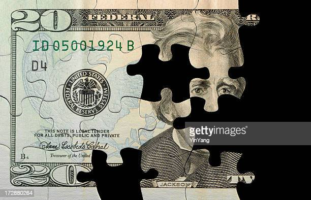 US Currency Puzzle with Missing Pieces, Part of Finance Solution