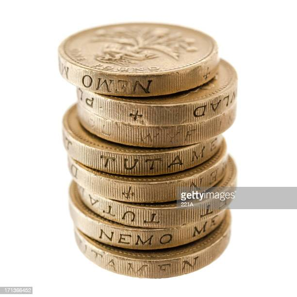 UK Currency: stack of one pound coins