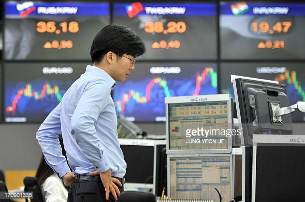 A currency trader monitors exchange rates in a dealing room at the Korea Exchange Bank in Seoul on June 20 2013 The South Korean currency dropped...