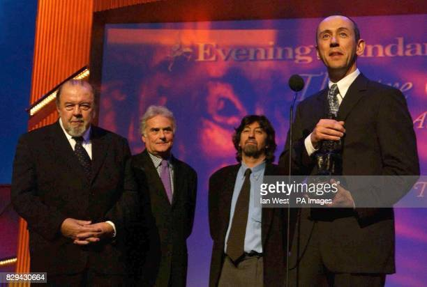 Current Artistic Director of the National Theatre Nicholas Hytner with former Artistic Directors Sir Peter Hall Richard Eyre and Trevor Nunn accept...