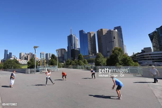 Current Australian Women's cricket captain Meg Lanning bats as former Australian captains Jodie Fields Belinda Clark Lyn Larsen Margaret Jennings and...