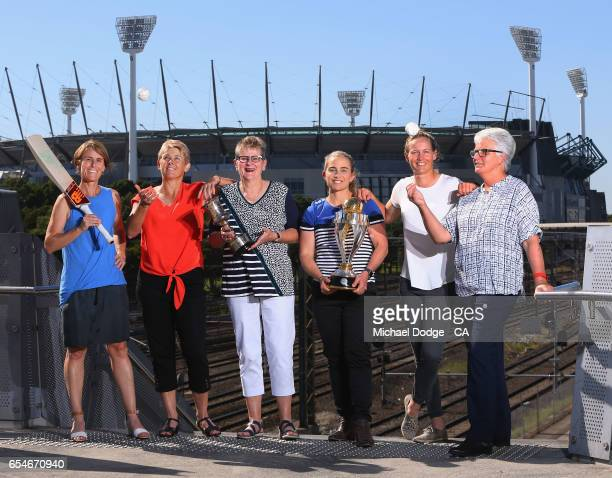 Current Australian Women's cricket captain Meg Lanning poses with former Australian captains Belinda Clark Lyn Larsen Margaret Jennings Jodie Fields...