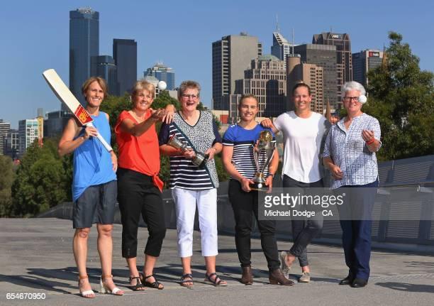 Current Australian Women's cricket captain Meg Lanning poses with former Australian captains Belinda Clark Lyn Larsen Margaret Jennings Jodie Fields...