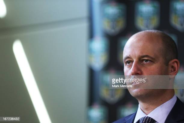 Current Bulldogs CEO Todd Greenberg speaks to the media during an NRL press conference to announce structural changes at Moore Park on April 23 2013...