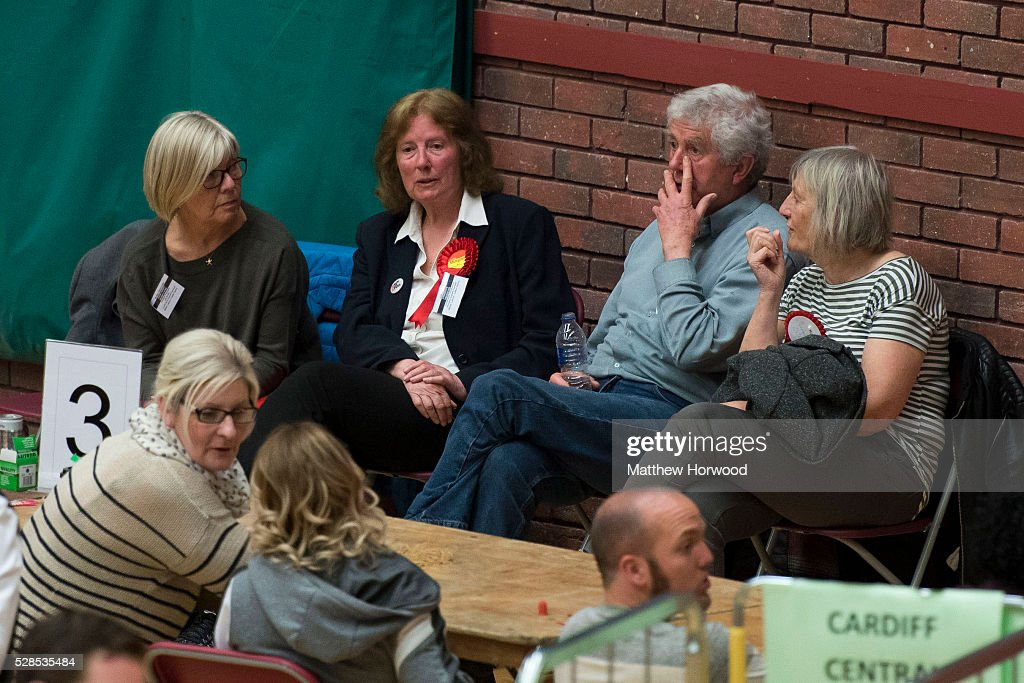 Current Cardiff North Labour AM Julie Morgan (middle left) and her husband and former First Minister of Wales Rhodri Morgan (middle right) wait for the declaration during the National Assembly for Wales election count at the Sport Wales National Centre on May 06, 2016 in Cardiff, Wales. Yesterday the UK went to the polls to vote for assembly members, councillors, mayors and police commissioners.